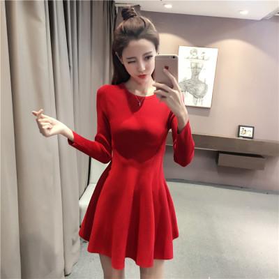 蓝莓家 2017新款针织衫毛衣修身显瘦针织长袖连衣裙女中长款a型打底裙 1705