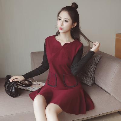 蓝莓家 秋冬新款女装宽松大码打底加厚毛呢外穿连衣裙 9922