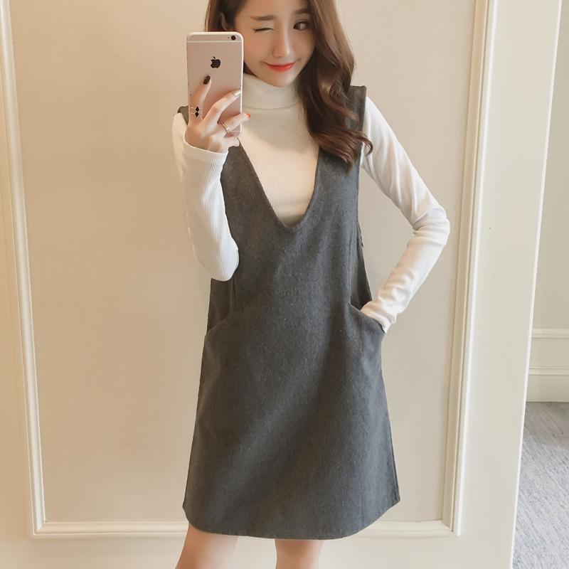 恩黛 2016秋冬韩版女装两件套高领长...