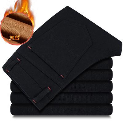 2016冬季加绒加厚保暖男装直筒纯黑牛仔裤