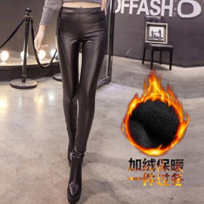 布桂坊2016冬季新款韩版洋气修身显瘦薄绒打底长裤皮裤女