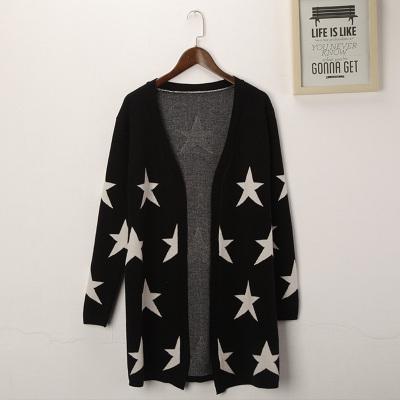 格兰索 秋季新款杨幂明星同款五角星星长袖羊绒针织开衫毛衣外套女中长款 LN1122