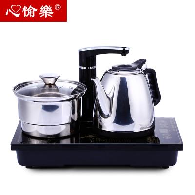 组合电磁茶炉自动加水抽水器不锈钢电热水壶三合一 整套黑色功夫茶具J301