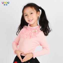 "LINOU琳欧 2016<span class=""gcolor"">新款</span>女童花朵<span class=""gcolor"">打底衫</span>时尚修身套头毛衣 LUO19"