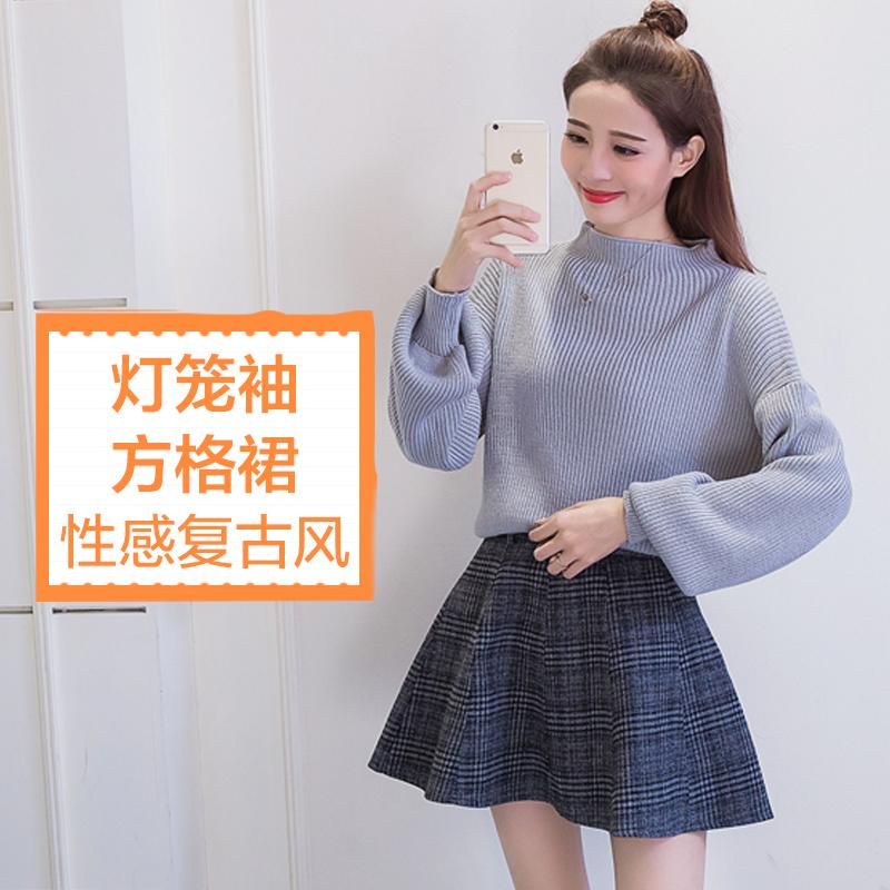 女人志 2016冬季新款纯色灯笼袖毛衣...