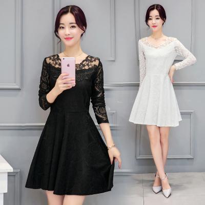 蓝莓家 蕾丝连衣裙2016秋季韩版修身显瘦长袖中长款裙子 367