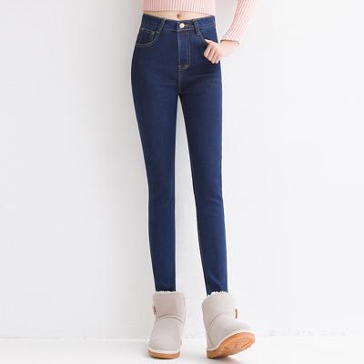 蓝莓家 加绒加厚牛仔裤铅笔小脚裤秋冬显瘦高腰 3072