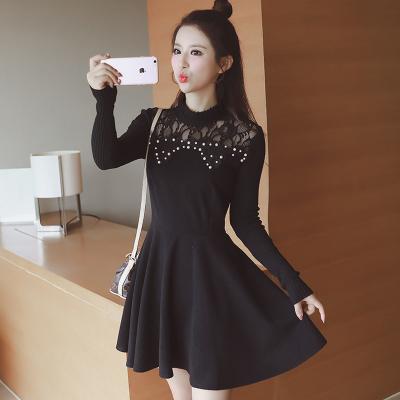 蓝莓家  秋冬新款韩版气质针织毛呢连衣裙  9926