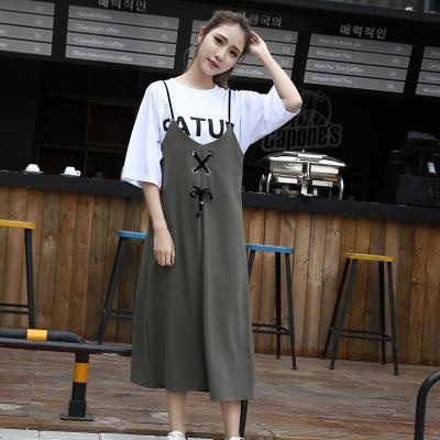 J.S.YU 2017春新款韩版时尚潮流上衣+T恤简约长裙套装 JS8052
