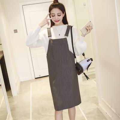 女人志 2017春季韩版冬季背带中长款连衣裙口袋吊带裙单件 8049