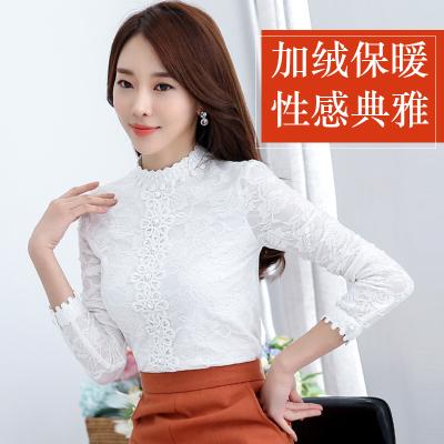 布桂坊2016冬季新款韩版女装蕾丝衫女长袖打底衫加厚加绒