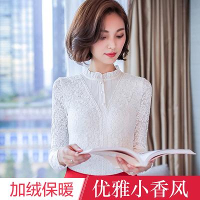 布桂坊2016冬季新款韩版女装蕾丝衫女修身打底衫加厚加绒