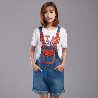 艾肋贝啦 2017夏装新款显瘦宽松背带牛仔裤女长裤809