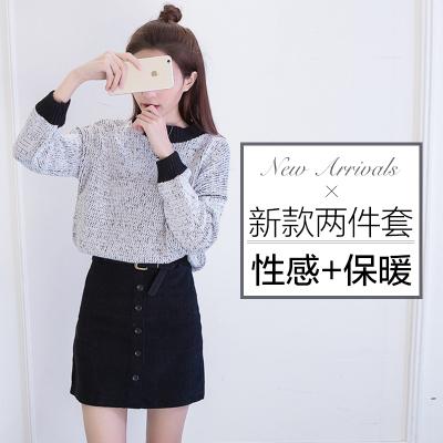女人志 实拍2016冬季新款时尚毛衣+灯芯绒短裙 毛衣套装8097