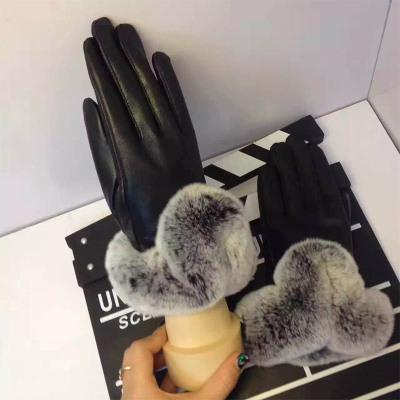 vogellee 羊皮加绒+兔毛手套