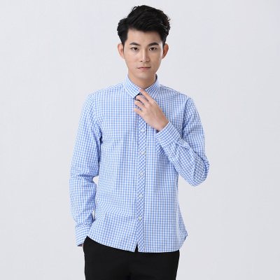 SHOT&STOM 男士时尚格子衬衫长袖衬衫中年商务保暖磨毛格子衬衣 ST01