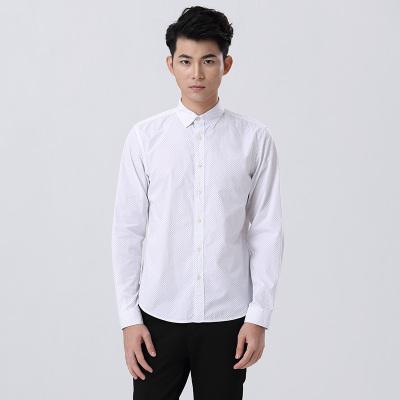 SHOT&STOM 白色时尚圆点长袖衬衫韩版修身波点衬衣男 ST02