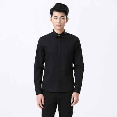 SHOT&STOM 男士时尚纯色衬衫长袖修身韩版纯色商务衬衣男装寸衫 ST09