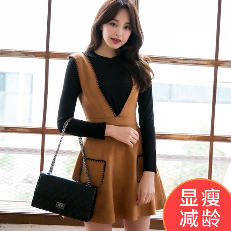 恩黛 2017春季新款时尚鹿皮绒背带裙...