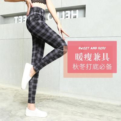 妍玥 韩版女士大码打底裤加绒加厚外穿休闲格子裤 17