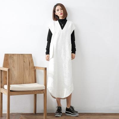 即布简约时尚亚麻提花连衣裙1002