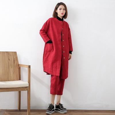 即布亚麻风格提花外套装1711016AB