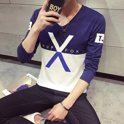 德昇  2017长袖圆领春百搭字母X字精品男装T恤 T609