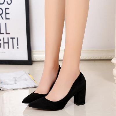 2017春季新款欧美时尚粗跟单鞋绒面尖头豹纹女单鞋时尚高跟鞋A-517
