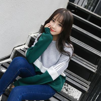 素裁 春季新款拼接拼色原宿卫衣女加绒加厚韩版宽松绒衫女上衣 8627