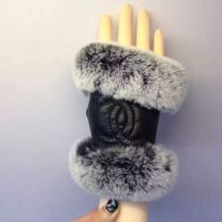 vogellee 香奈儿羊皮加绒+兔毛手套保暖时尚