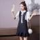 蓝莓家 2017新款韩版修身显瘦 前系带蝴蝶结假两件连衣裙 8169