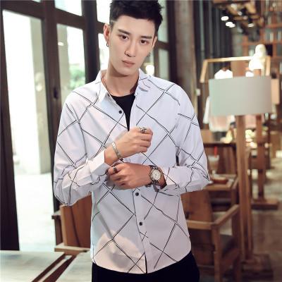 2017春款衬衫男长袖修身韩版男士白色衬衣潮寸衫学生休闲衣服
