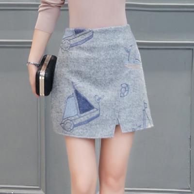 布桂坊2016冬季新款韩版毛呢半身裙不规则 女修身绣花包臀高腰短裙