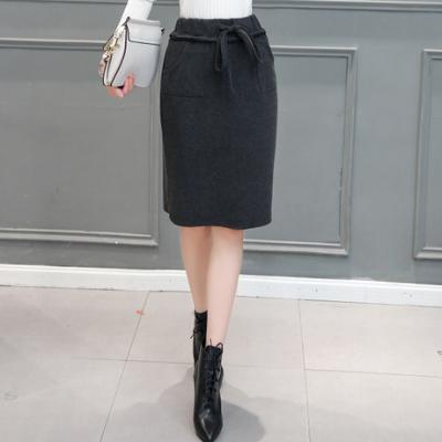 布桂坊2016冬季新款韩版毛呢半身裙秋冬 中长款高腰包臀裙松紧腰一步裙女