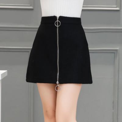 布桂坊2016冬季新款韩版女装韩版毛呢短裙时尚拉链百搭显瘦半身裙