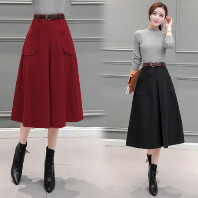 布桂坊2016冬季新款韩版毛呢大摆半身裙 韩版高腰显瘦长裙 女