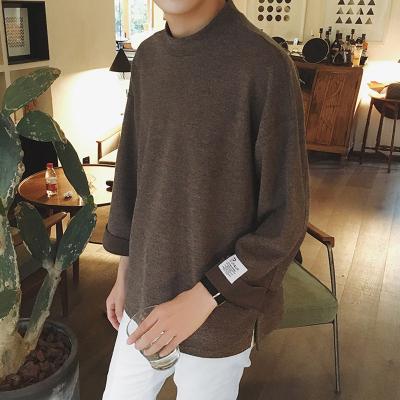 秋冬新港风男宽松套头贴布圆半高领纯色长袖宽松卫衣T恤