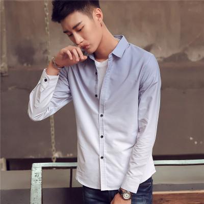 春季新品2017男长袖衬衫潮流休闲男款寸衫衬衣 渐变修身型上衣