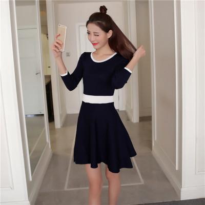蓝莓 实拍新款女装冬装 韩版撞色圆领七分袖针织修身连衣裙女8829