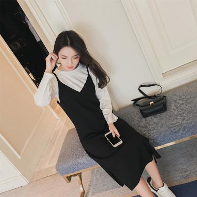 蓝莓家 2017新款圆领长袖t恤吊带连衣裙两件套时尚套装  8807