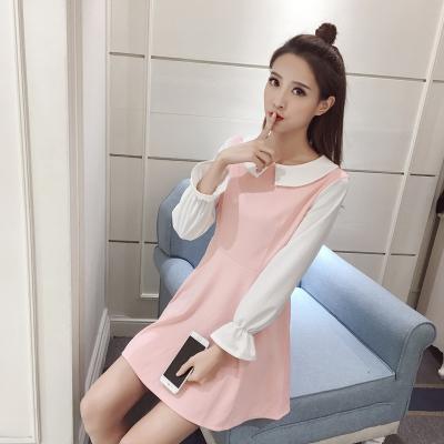蓝莓家 2017春季娃娃领荷叶袖长袖高腰显瘦a淡粉色连衣裙 8284