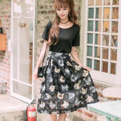 """恩黛 2017新款女装<span class=""""gcolor"""">两件套</span>韩版短袖套裙圆领中长款连衣裙套装女夏 Q047F6728"""
