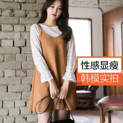 恩黛 2017新款V领吊带连衣裙+镂空长袖打底衫宽松腰韩版纯色显瘦 Q047F6828