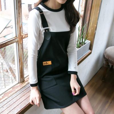 恩黛 2017春韩版女装撞色打底衫长袖两件套背带连衣裙 Q047F6814