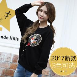 J.S.YU 2017春新款韩版时尚潮流贴图套头纯色卫衣   JS6071