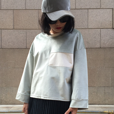imelove 开叉金丝绒撞色宽松休闲T恤 1196