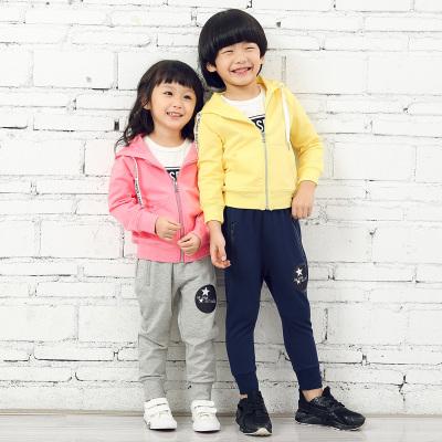 叻叻小星男女童拉链有帽外套单裤   X9081