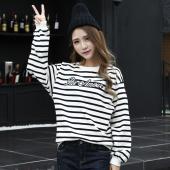 J.S.YU 2017春新款韩版时尚套头潮流条纹字母卫衣  JS6069