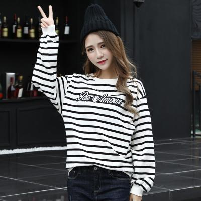 J.S.YU 2018春秋季新款韩版时尚套头潮流条纹字母卫衣  JS6069