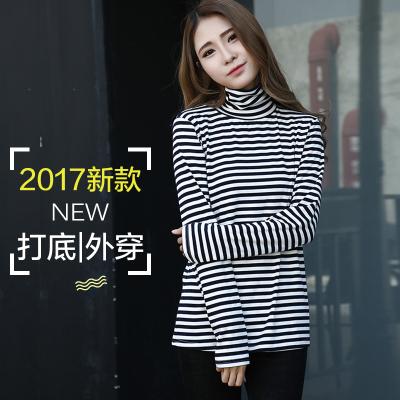 J.S.YU 2017春新款韩版高领堆堆领宽松条纹长袖T恤打底衫 JS6077